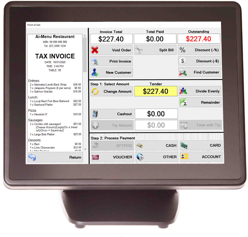 Ai-POS integrates your menus, kiosks, online store and QR code dining