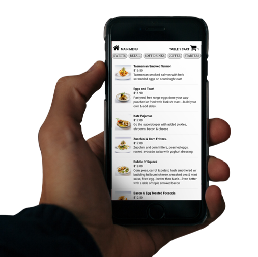 Ai-Dine QR code ordering at the table for cafes restaurants